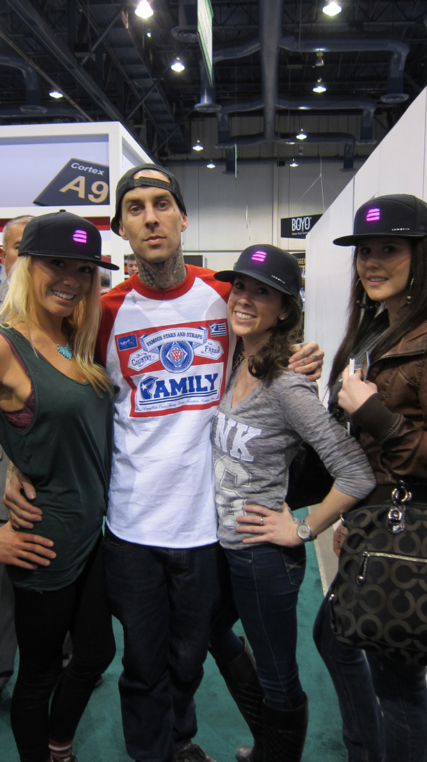 LUMATIV w/ Travis Barker at CES!  The snapbacks put a smile on his little boy and girls face after a long day of signing autographs with their dad.  Travis you ROCK!