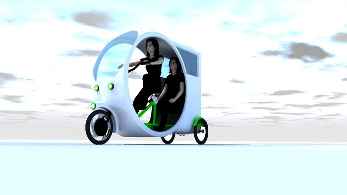 City Trike 2Go is a two seat electric pedal trike with room for two people and luggage.