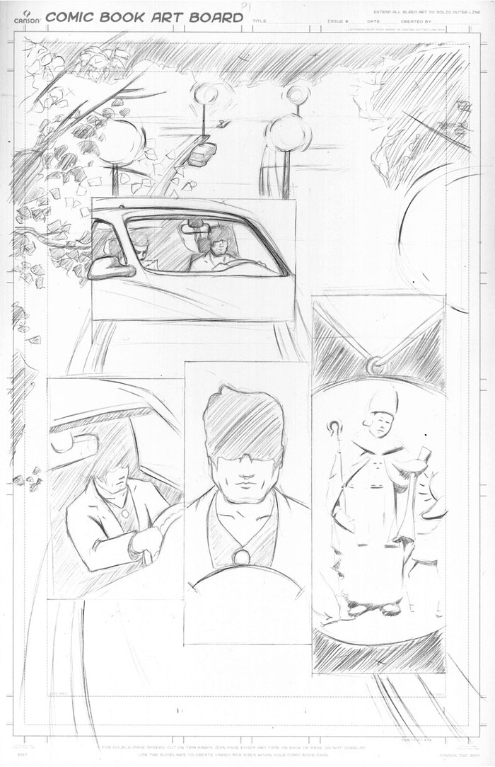 Layout of an early page of the comic (Inking and coloring to come!)