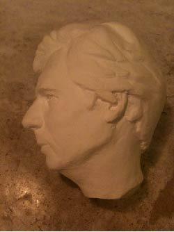 Full plaster cast of puppet head (original carving by Josh Krezinski)
