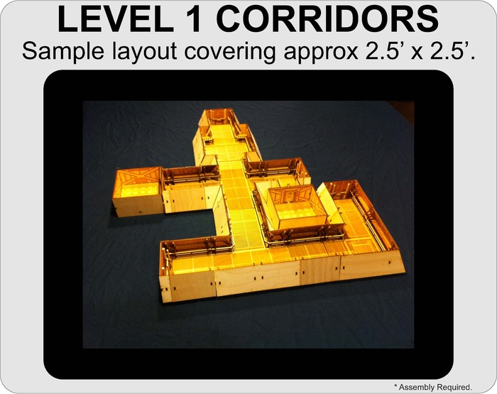 A sample layout using all of the sections currently included in the Level 1 Corridors.