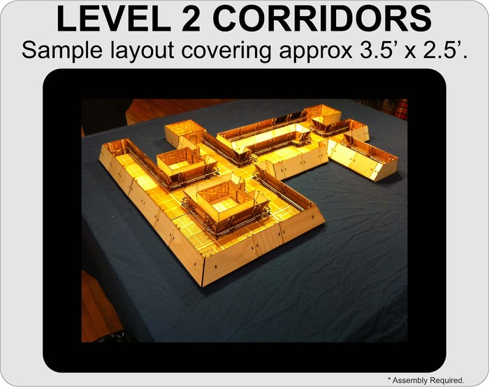 A sample layout using all of the sections currently included in the Level 2 Corridors.