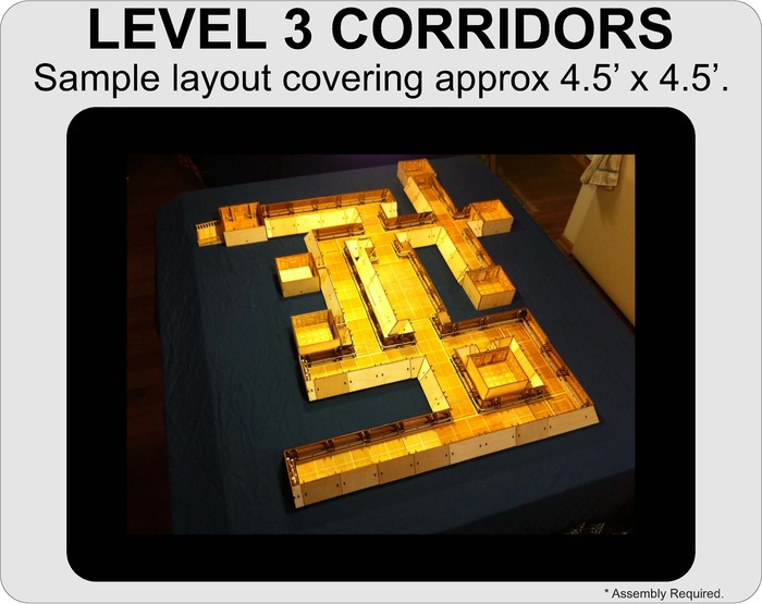 A sample layout using all of the sections currently included in the Level 3 Corridors.
