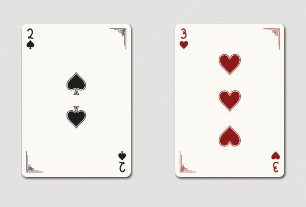 Mock up of 2 of spades & 3 of hearts