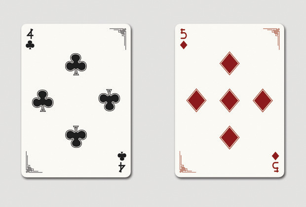 Mock up of 4 of clubs & 5 of diamonds