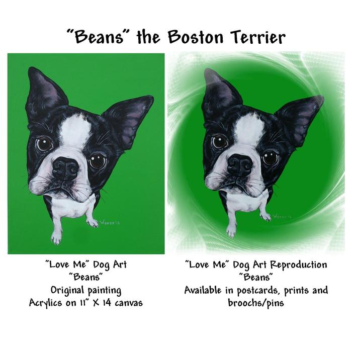 Meet Beans the boston terrier!  This image shows both the original painting and the reproduction.