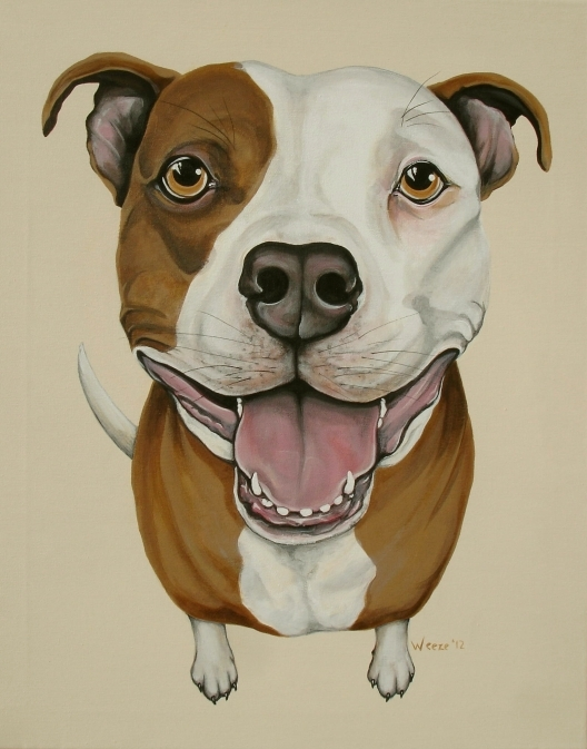 "Apollo the pitbull with his big pitbull smile!  Original painting 16"" X 20"""