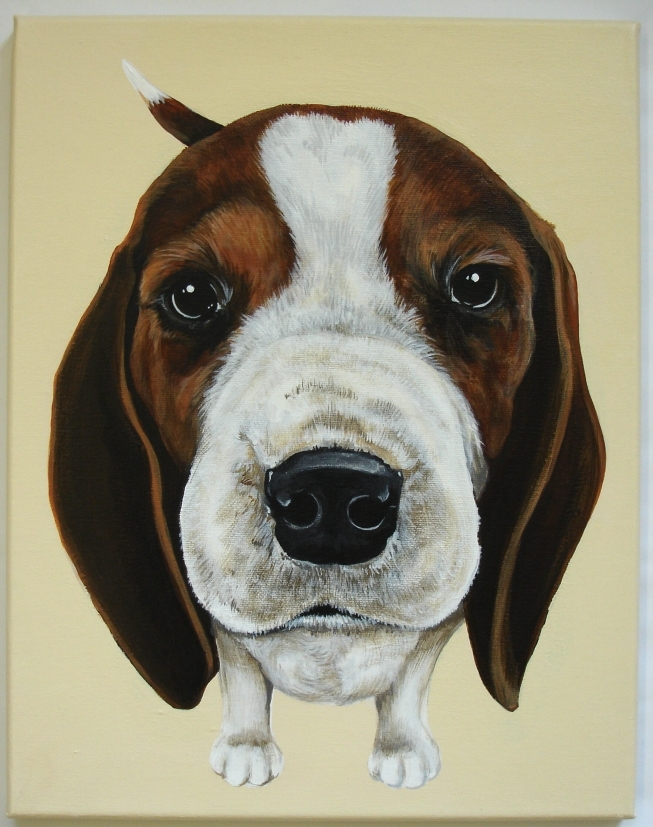 "Barney Beagle, the first in the ""Love Me"" series and where it began!  Painted on a 11"" X 14"" canvas."
