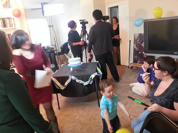Shooting the birthday party scene of the Sims soap opera Season 1