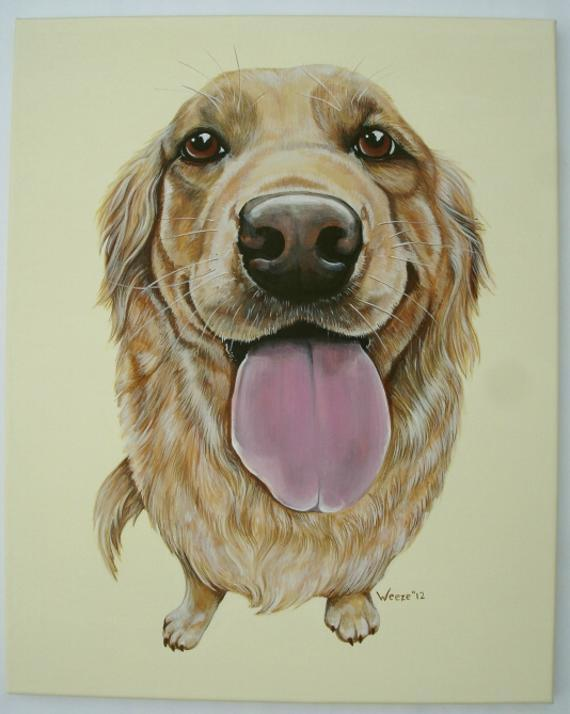 "Ellie the lovable golden retriever is painted with acrylics on a 16"" x 20"" canvas."