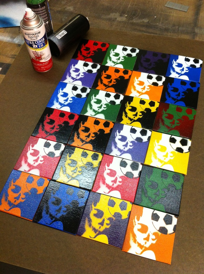 """Skull Header"" spray-painting. Any set of 4 squares for $40 pledge, or one 4"" x 4"" square for just $11 pledge."