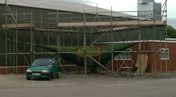 Tentsile Giant manufactured outside in a scaffold