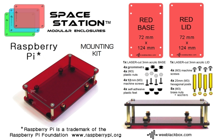 """RED Raspberry Pi"" SpaceStation Kit."