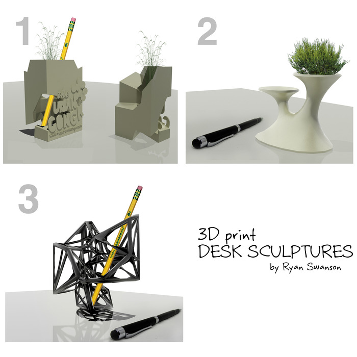 "*REWARD #6 - 3d printed 4""x4"" sculpture (pencils, pens, and plant not included)"