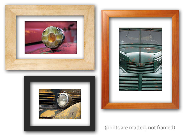 We have archival prints of truck and truck details in all sizes from 8x10 up to 30x40. (Prints to 16x20 are NOT framed, sent in archival mattes. Larger prints are sent rolled.