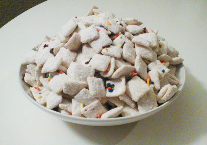 Epic Cake Batter Puppy Chow