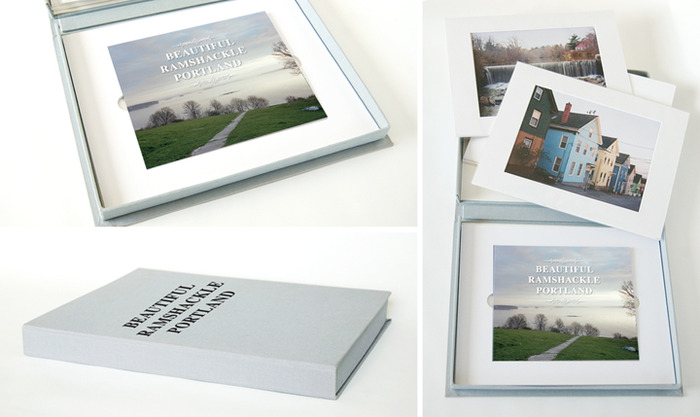 Mockup of the $500 Reward - Limited Edition Portfolio with signed soft cover book and four matted 11x14 prints.  Cloth bound box with embossed title will be hand crafted in Maine.  Images subject to change.