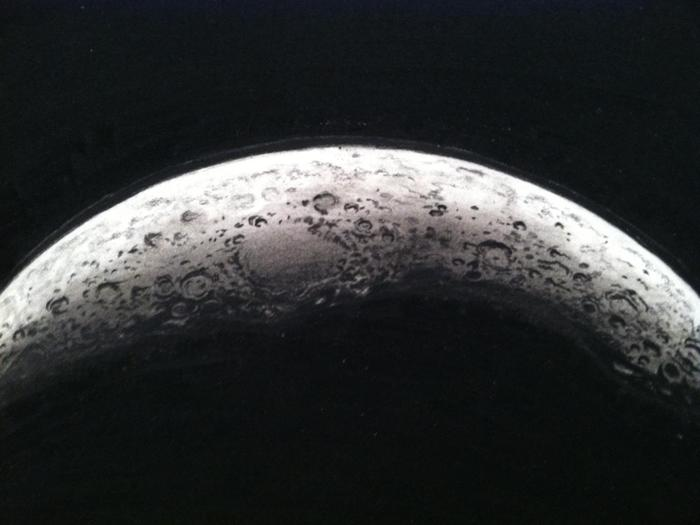 "Close up view of ""Crescent Moon"" (2013)."