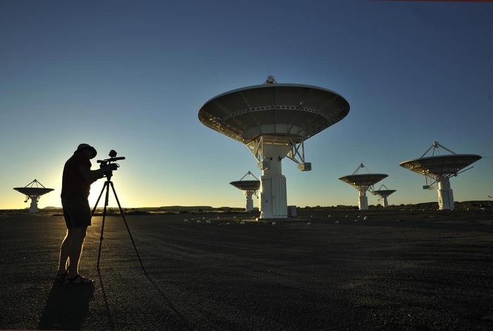 Filming time lapse imagery at the Square Kilometer Array site near Carnarvon in the Karoo.  Some fear the project, which will be the biggest telescope in the world, is in danger from the proposed natural gas development.