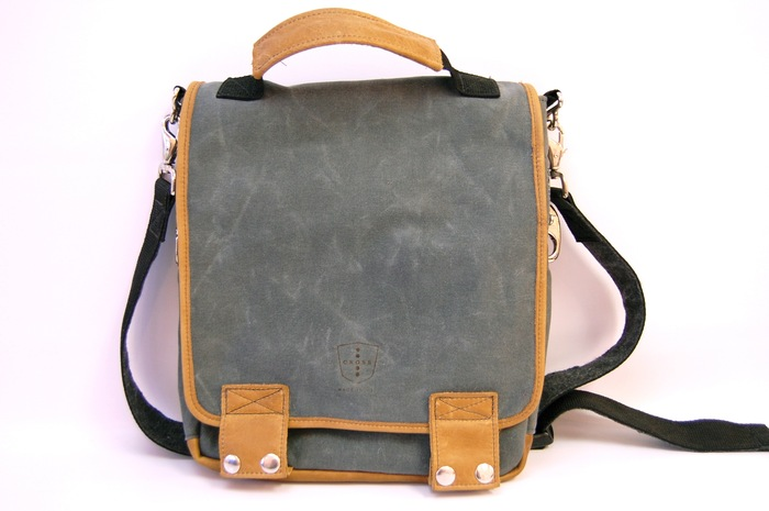 The Tall 06 Messenger- Charcoal Waxed Canvas, Honey Leather Trim with Nickel Metal Hardware,  Retail Price $250