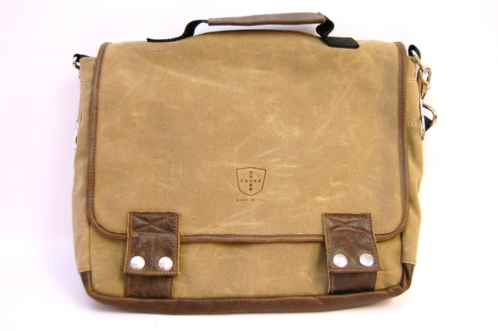 The Standard 06 Messenger- Sage Waxed Canvas & Walnut Leather Trim, Retail Price $250