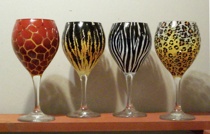 Animal print wineglasses