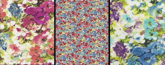 Pink flower, Small flower and Blue flower fabric