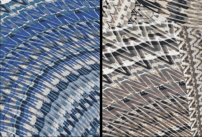 Blue line and Brown line fabric