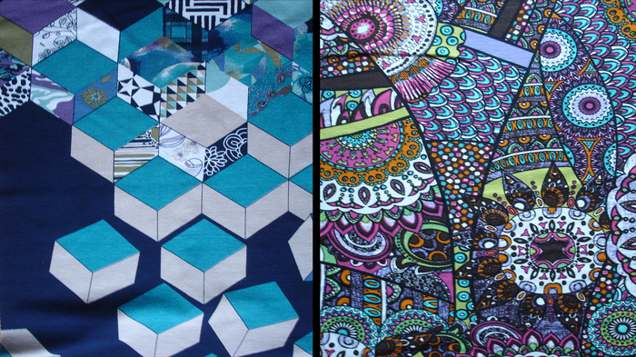 Abstract cube and Abstract mosaic fabric