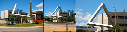Impossible triangle sculpture as an optical illusion, East Perth, Western Australia