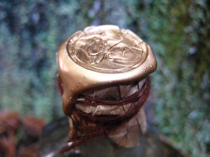 Detail of Fluer-de-lis Seal on Bound Brown Paper Cap