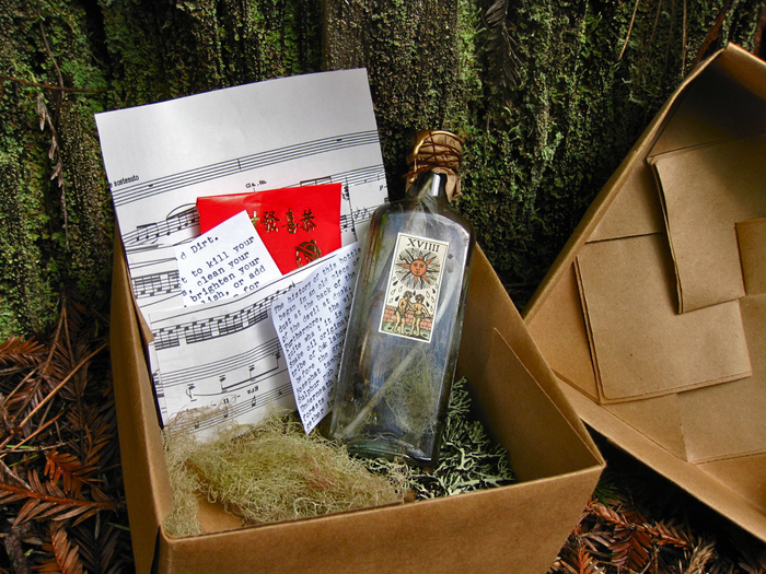 Mystery Box:  Hand-Made Paper Box w/ Graveyard Dirt, Antique Glass Bottle, Typed History.  (Not Pictured: Unknown Artifact)