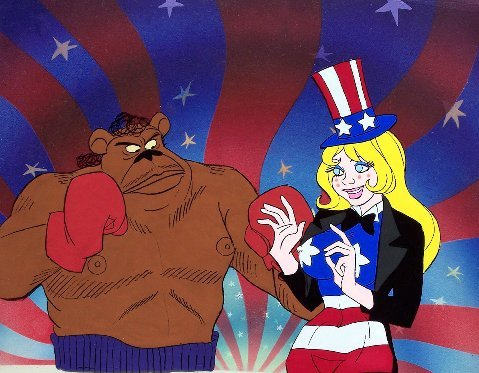 "Brother Bear and Miss America from ""Coonskin."""