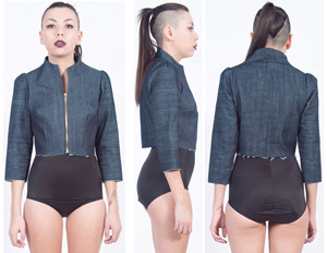 Fig. K: Denim Crop Jacket by Alexa Stark