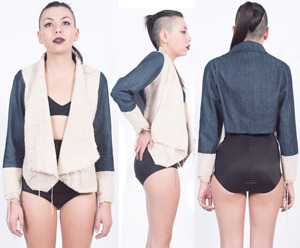 Fig. P: Silk and Denim Jacket by Alexa Stark