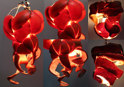 Fig. Q: One-of-a-Kind Sewn Grapefruit Peel Lamp by Kendyll Gage-Ripa