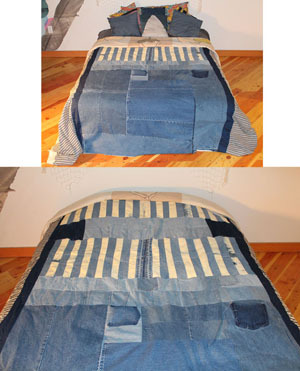 Fig. U: Patchwork Denim Quilt by Alexa Stark (Top View)