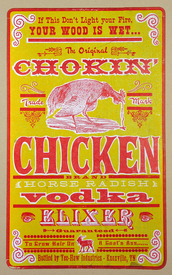 """Chokin' Chicken Vodka Elixer"" $50"