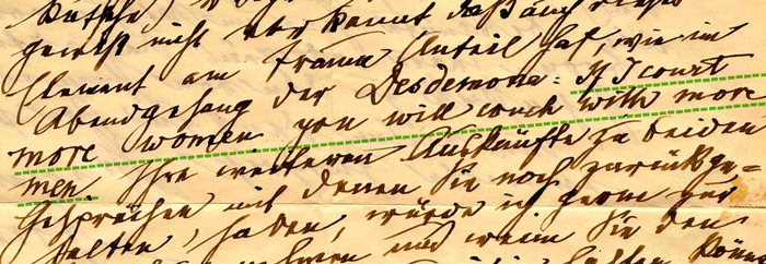 1919 • 'If I court more woman you will couch with more men.' • Letter from Freud to Wilma Federn switching between English and German handwriting
