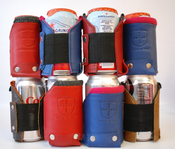 Drink Koozies (NO S-biner Bottle Opener) Perfect for soda/water bottles & cans. YES we have some limited Red & Blue Leather for your Koozie.