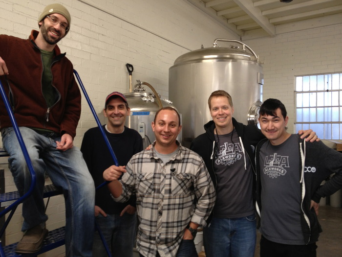 Brewing the first batch of Gams-Bart at Ohana Brewing - (Left to Right) John Rockwell, Sean Inmann, Chris Walowski, Kip Barnes, Andrew Luthi