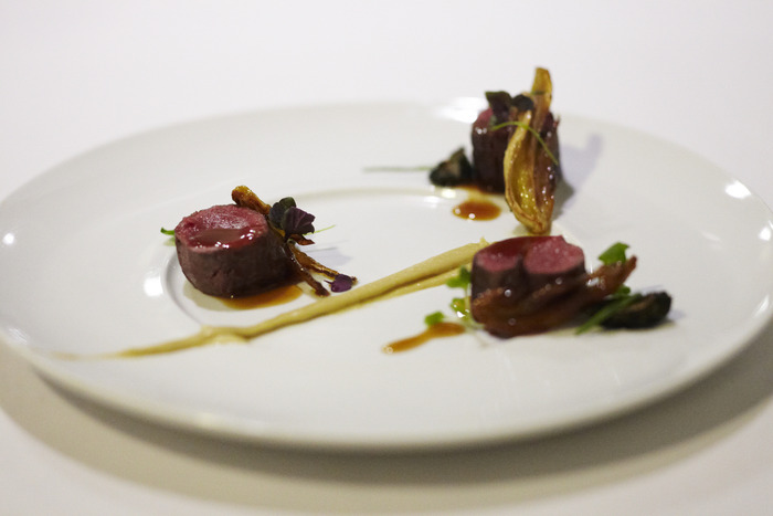 Venison, flavors of gin.