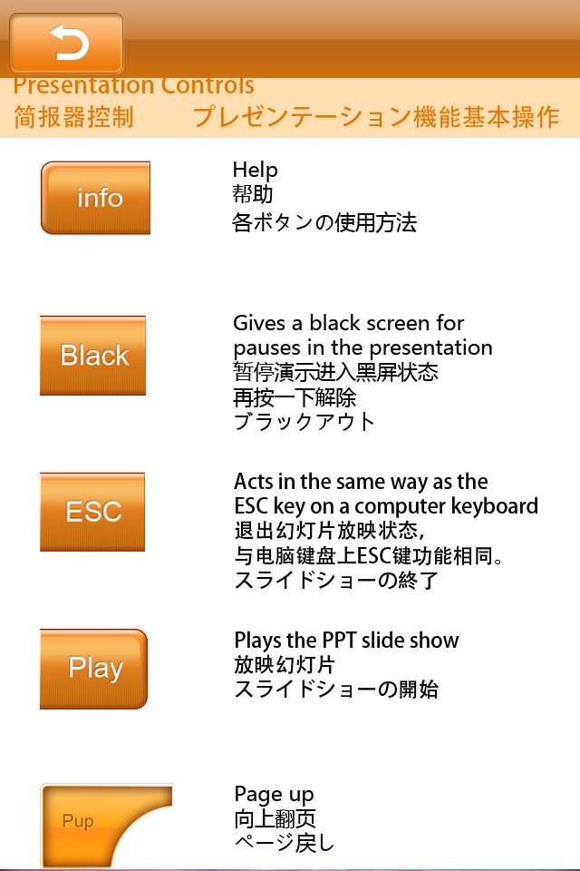 Help menu in English, Chinese and Japanese.