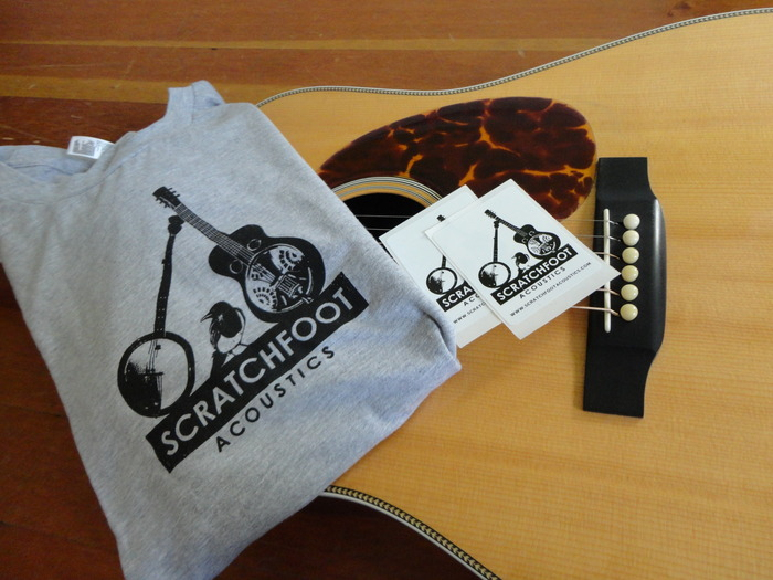 Scratchfoot Acoustics logo T-shirt and Stickers (guitar not included)