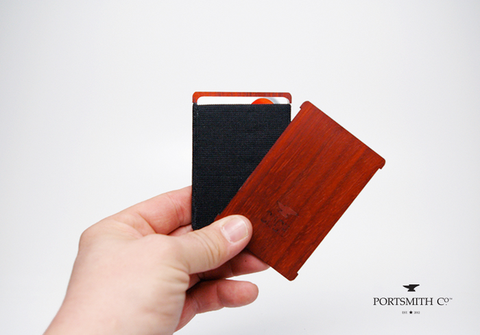 LIMITED Qty 20: CINCH wallet :: Padauk wood 'Backbone' with black elastic 'Keeper'