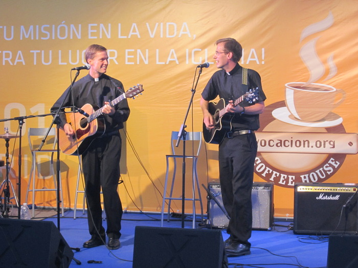Br Gabriel and I playing at World Youth Day in Madrid!