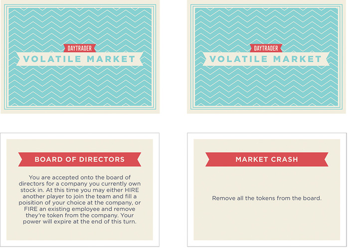 The Volatile Market Cards. There are 32 cards in the game which can send the game into all kinds of directions.