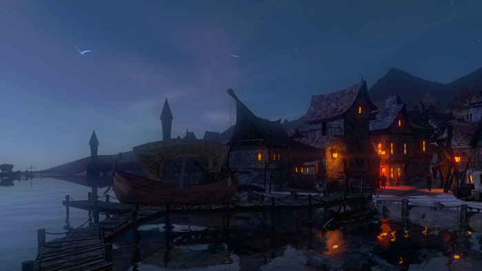 Sunset in Shady Quay (real-time, in-game screenshot from Dreamfall Chapters)