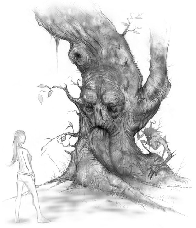 Zoë meets a Tree Spirit in Dreamfall Chapters