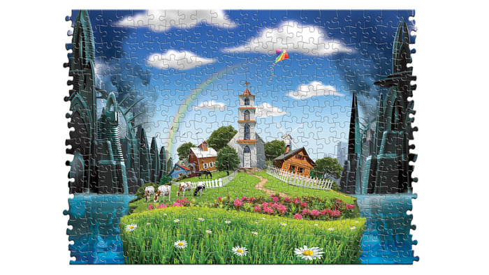 Have the Utopian green grass and blue sky's scene control the puzzle look